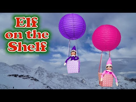Purple & Pink Elf on the Shelf - Caught Flying in Hot Air Balloons! Day 23