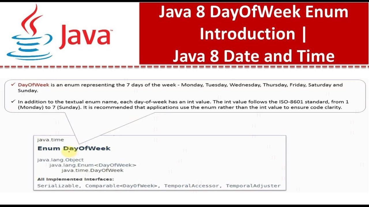 Java 8 DayOfWeek Enum Introduction | Java 8 Date and Time | Java Date and  Time