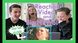 REACTING TO OUR 1ST VLOG & HUGE ANNOUNCEMENT!