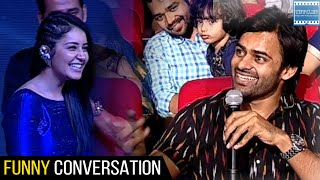 Sai Dharam Tej And Rashi Khanna Funny Conversation @ Okka Ammayi Thappa Audio Launch | TFPC