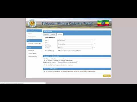 How to self register on the Ethiopian Mining Cadastre Portal