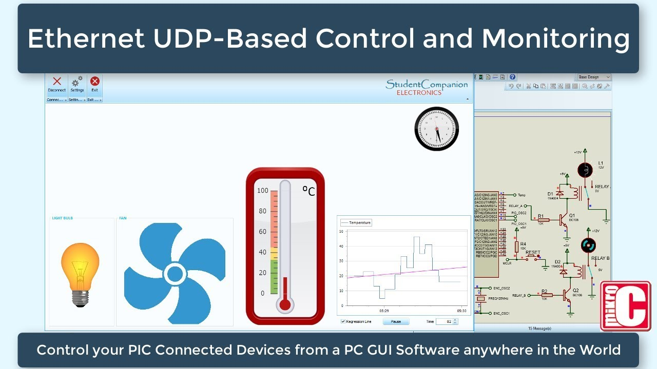 UDP Control and Monitoring with PIC Microcontroller