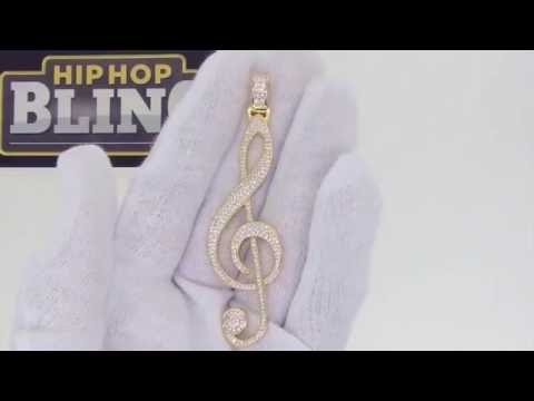 Treble Clef CZ Bling Bling Gold Pendant | Hip Hop Music Jewelry