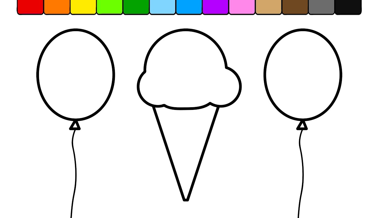 learn colors for kids and color this balloon ice cream coloring