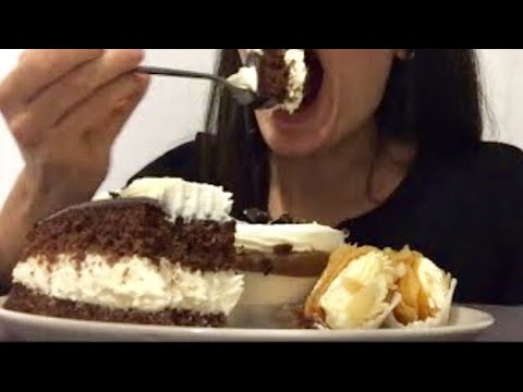 ASMR: chocolate cake, profiterole, cream-filled phyllo pastries *EATING SOUNDS*