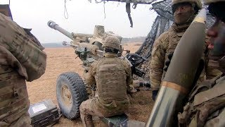 Paratroopers Firing Howitzer - Up Close and Aerial