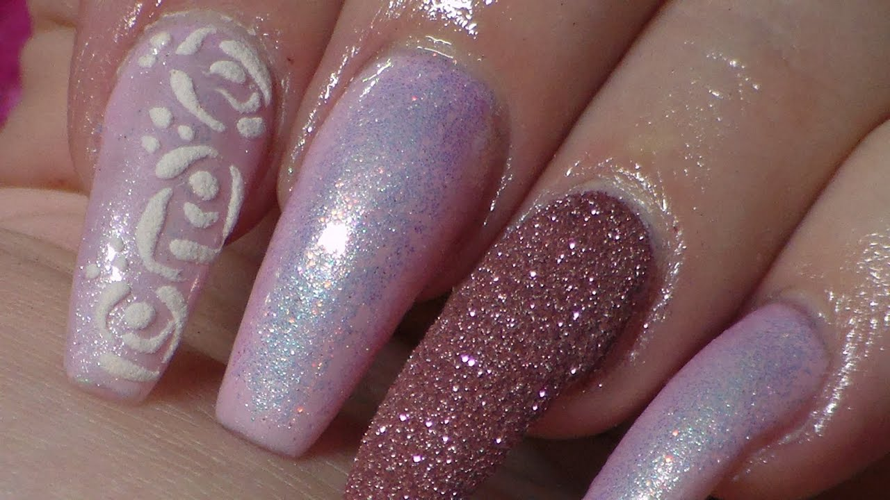 Unique Light Pink Glitter Acrylic Nails Ideas - Nail Art Ideas ...