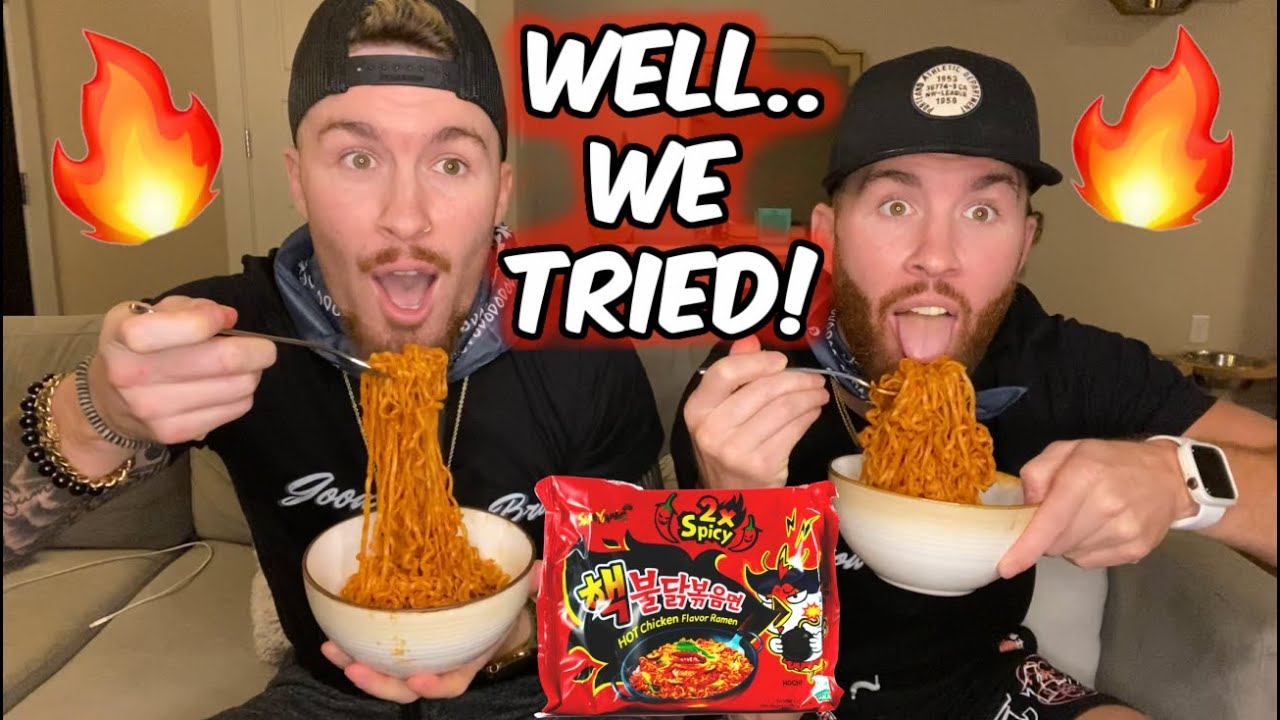 TWINS Eat KOREAN 2X SPICY FIRE NOODLE CHALLENGE!! Well we tried...😂