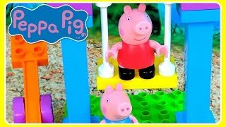 Peppa Pig Playground Building Blocks With See Saw & REAL Swing Set! Peppa Pig Legos