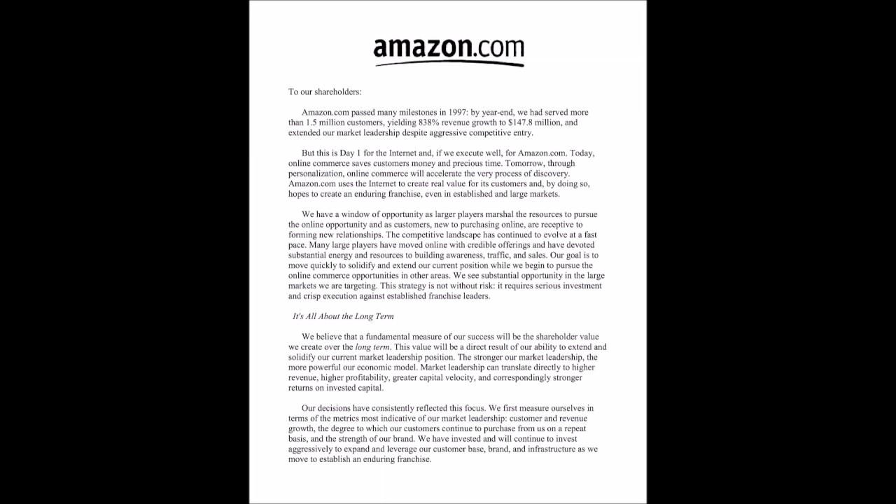 Amazon Interview: Jeff Bezos 1997 Letter to Shareholders (Audio & slides)