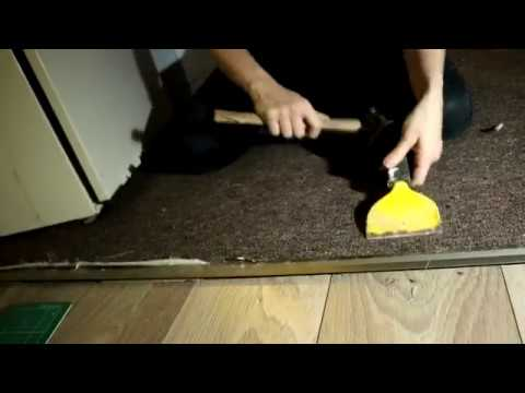 ing A Carpet to Laminate Door Strip | The Carpenter's Daughter ... How To Lay Carpet In A Bat on