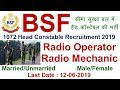 BSF 1072  Head Constable Radio Operator/ Radio Mechanic Recruitment 2019 | Employments Point