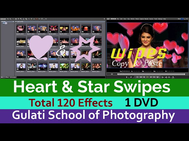 07 Star & Heart Swipes | Edius 7,8 9, Effects | Transistions | Drag and Drop Effects ( Total 120  )