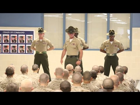 Marine Corps Drill Instructors Meet Recruits for The First T