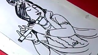 How to Draw LORD flute KRISHNA DRAWING step by step for kids