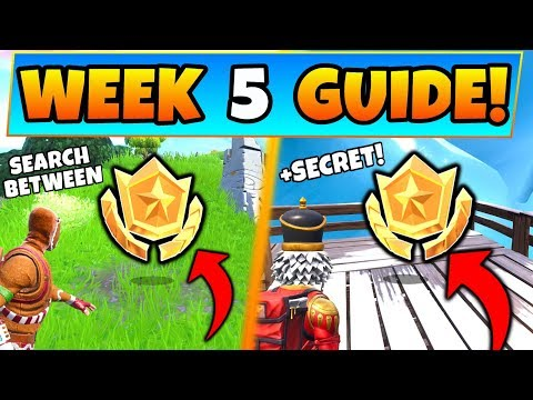 Fortnite WEEK 5 CHALLENGES! - Giant Rock Man Star, & Secret Star (Battle Royale Season 7 Guide)