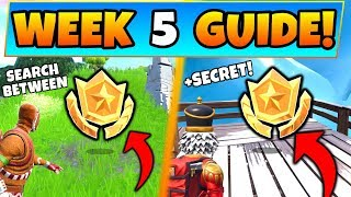 Fortnite WEEK 5 CHALLENGES! - Giant Rock Man Star, & Secret Star (Battle Royale Season 7 Guide)