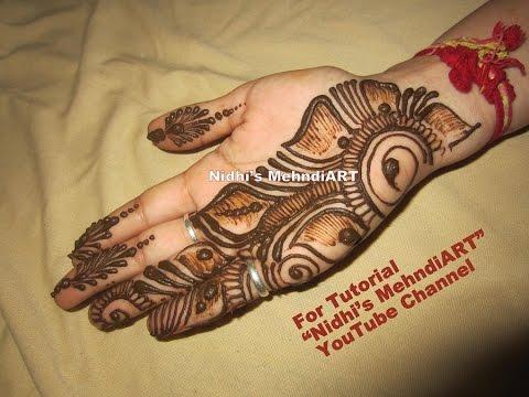 Front Hand Henna Mehndi Design : Beautiful shaded arabic front hand henna mehndi design tutorial