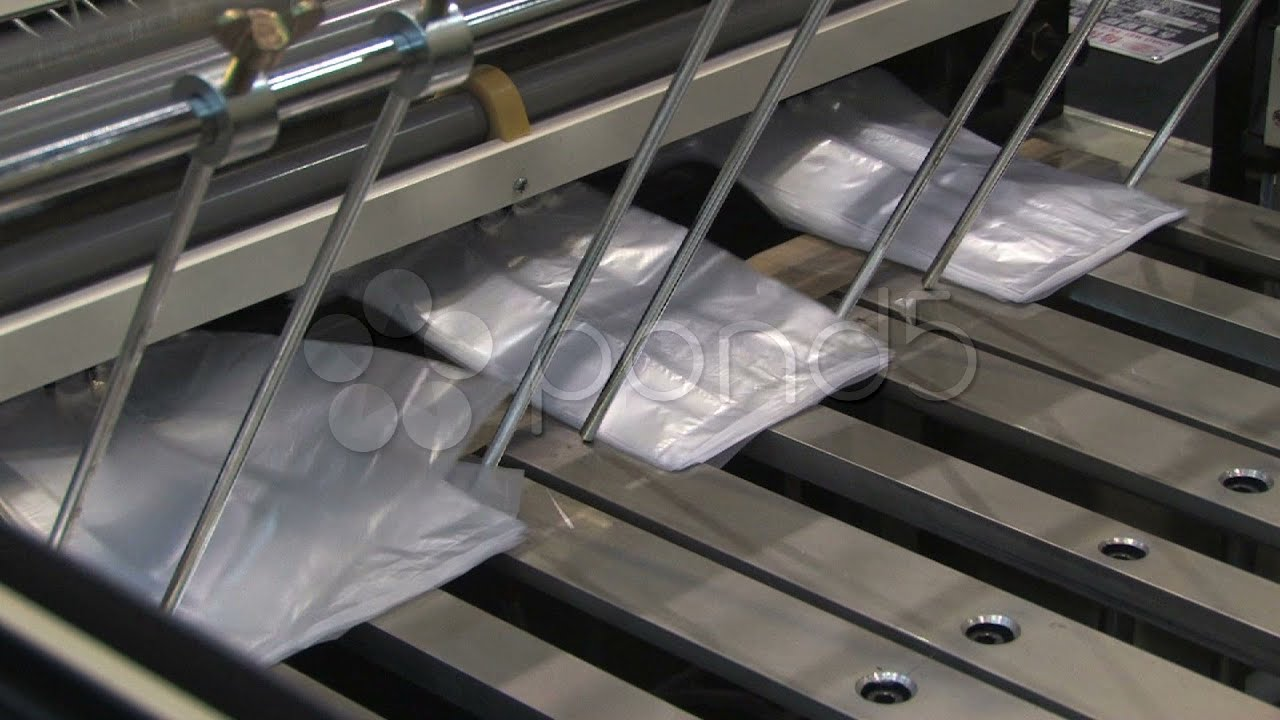 Making Plastic Bags Bag Factory Industry Machine Production Line Machinery   Stock Footage