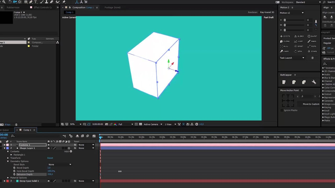 How to extrude 2d shapes into 3d objects in after effects for After effects lyric video template