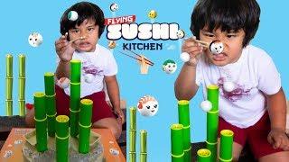FLYING SUSHI KITCHEN GAME Toy Review Family Fun Game Night!
