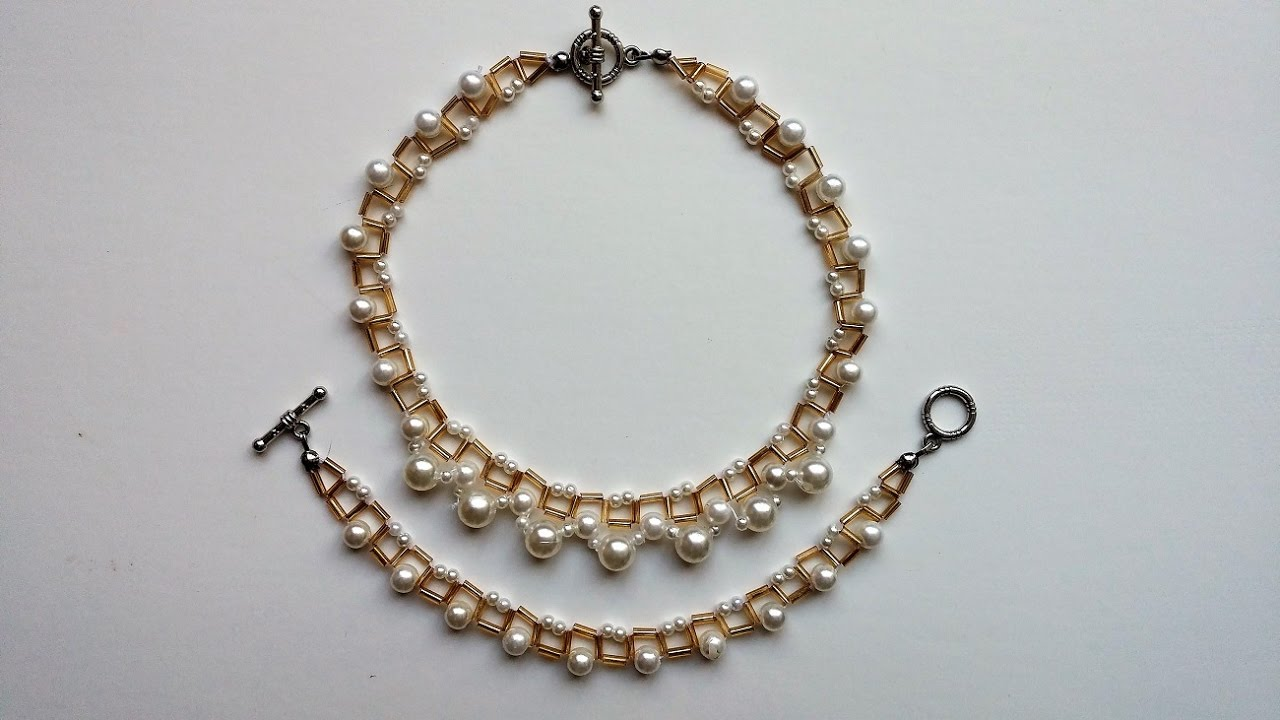 Pattern With Pearls And Bugle Beads