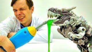 Игрушки Трансформеры Диноботы: Гримлок у Доктора Ой