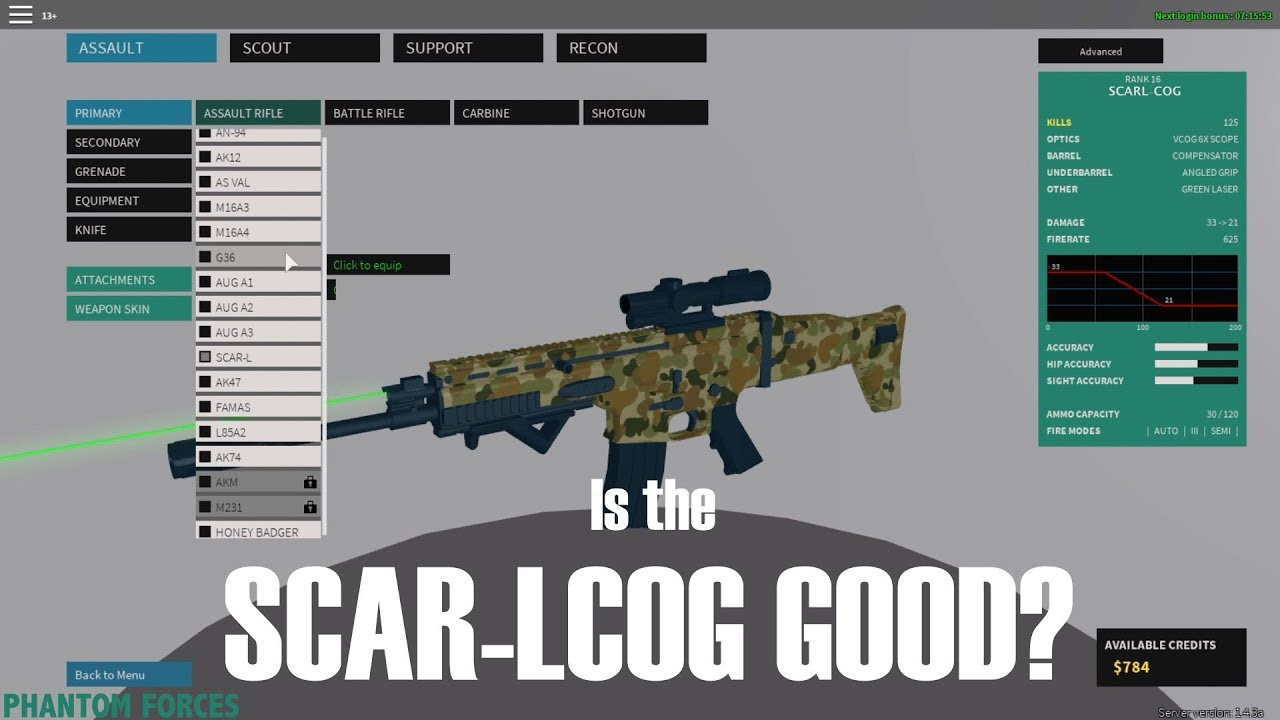 As Val Best Setup And Preview In Phantom Forces Roblox Is The Scarl Cog Good Phantom Forces Youtube