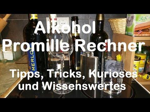 Alkohol Promille  Rechner - Alkohol  Abbau nach Stunden und Zeit errechnen