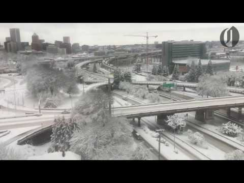 Portland's historic snowfall as seen from the aerial tram