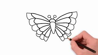 butterfly easy drawing simple draw butterflies drawings paintingvalley half butter