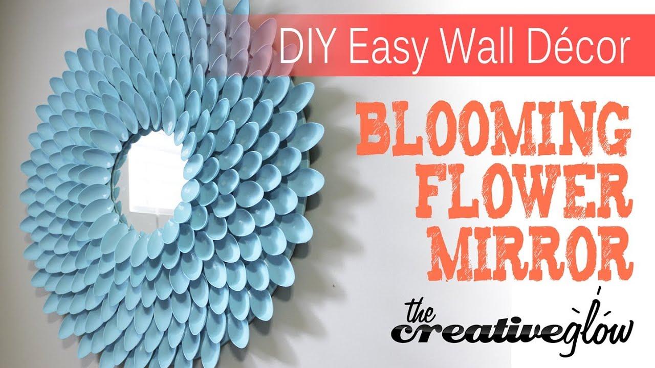 DIY Blooming Flower Mirror - From Plastic Spoons - YouTube
