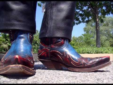 Sendra Blue Hurricane Cowboy Boots with Leather Pants - YouTube