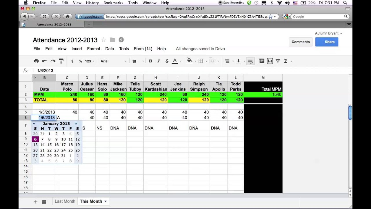 Google Docs Attendance Spreadsheet YouTube