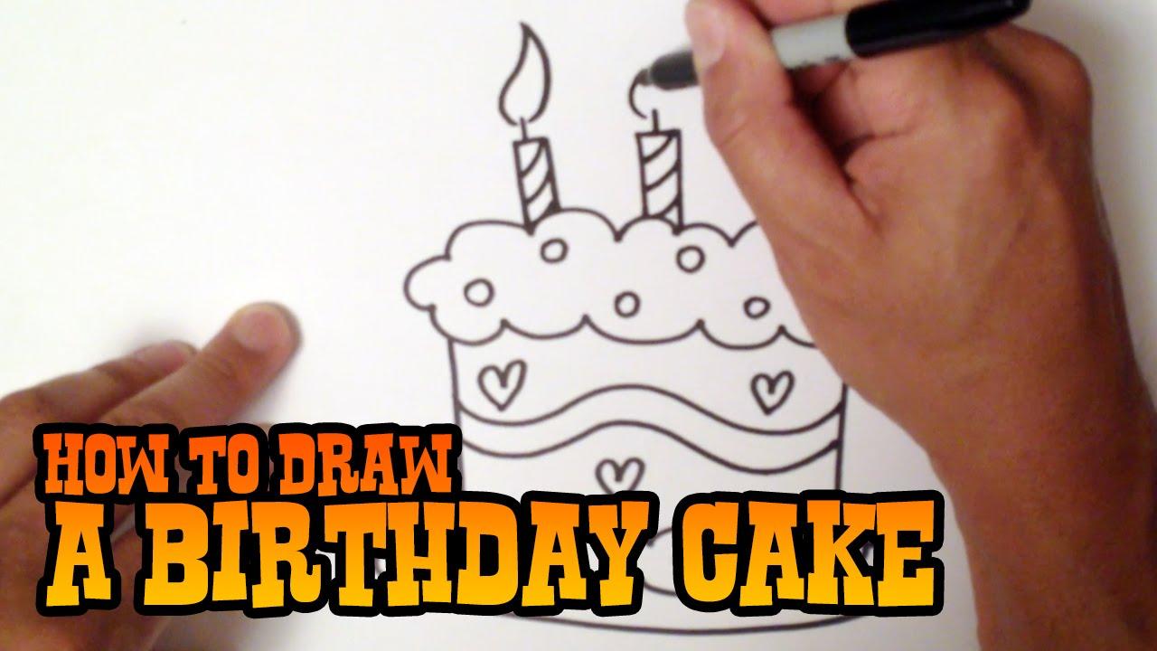 how to draw a birthday cake  step by step video, Birthday card