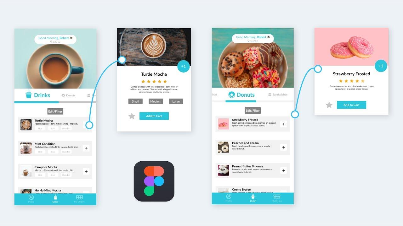 Coffee & Donuts Ordering UI Design/Prototype in Figma - Speed Design -  YouTube