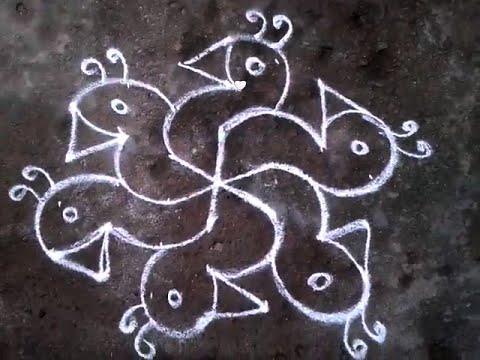 Kolam With Birds Design Using Dots 7 4 Youtube