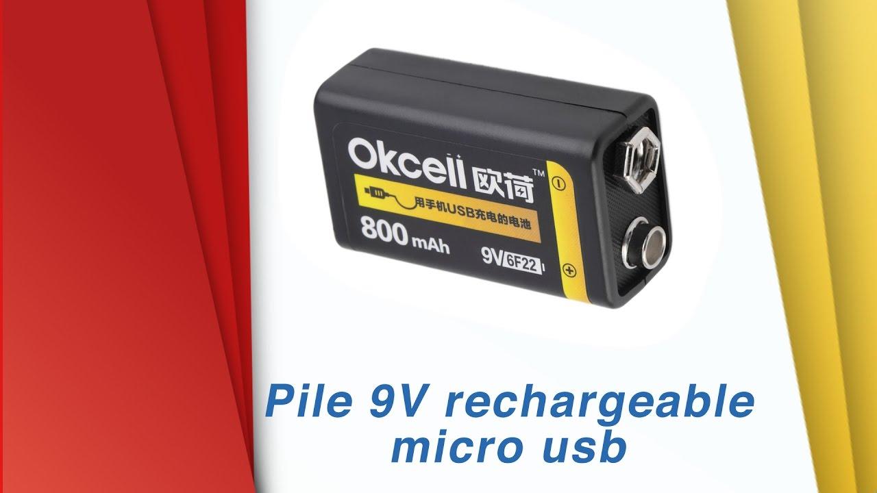 Pile 9V OKcell Rechargeable Micro Usb   Déballage Et Test