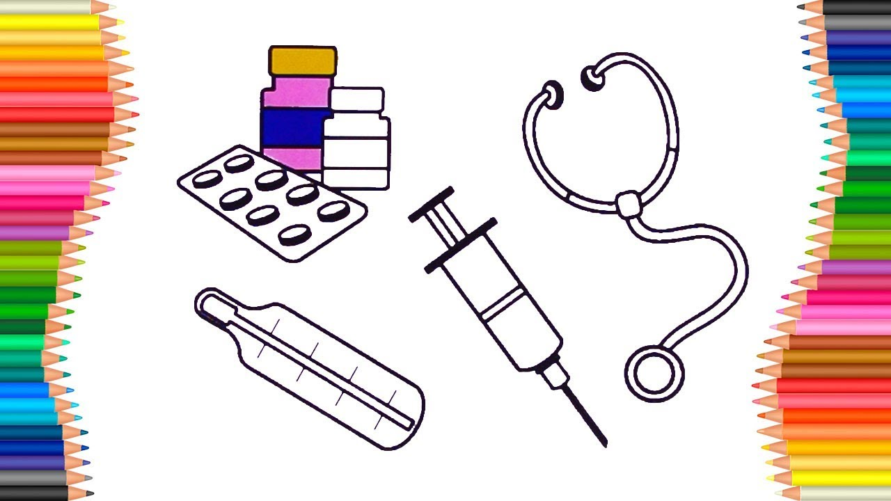 How to Draw First Aid Kit for Kids | Medical Coloring Pages - YouTube