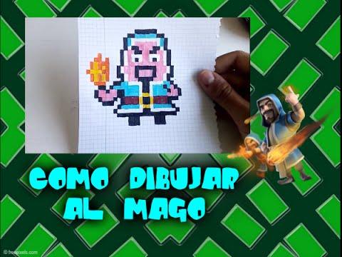 Como dibujar al Mago de COC  Para Minecraft  Pixel Art  8 Bits