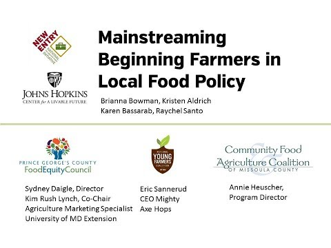 NIFTI Webinar 15 Mainstreaming Beginning Farmers in Local Food Policy