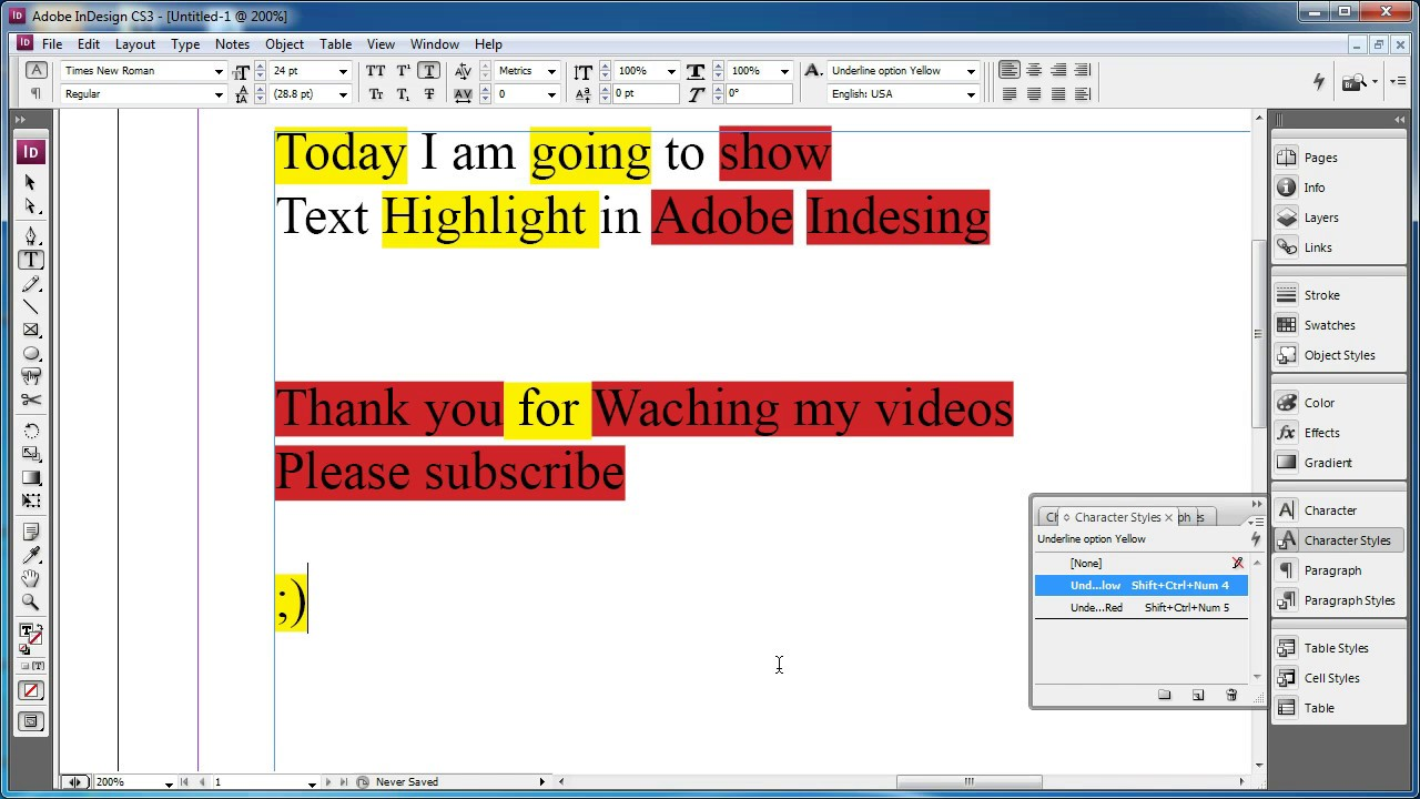 Pages color highlight - Adobe Indesign Text Highlight