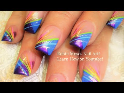 Nail Art Striping Tutorial Rainbow Stripe Tips Nails Design Youtube