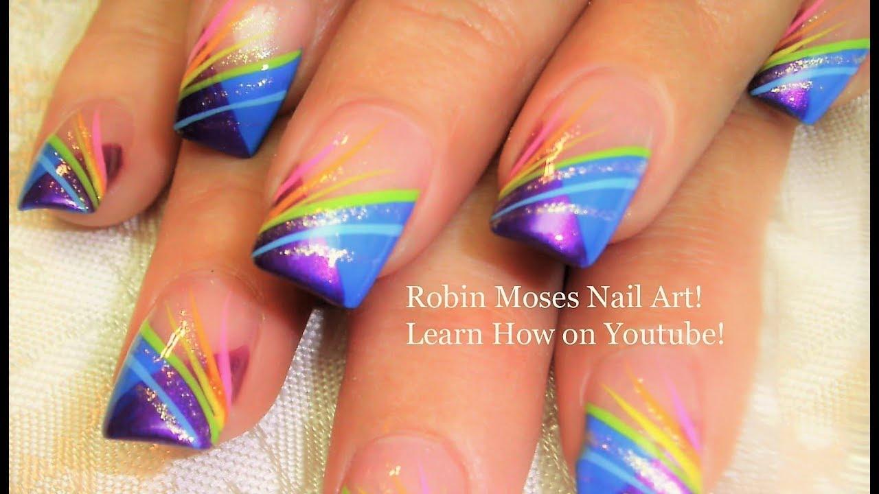 Nail art striping tutorial rainbow stripe tips nails design nail art striping tutorial rainbow stripe tips nails design youtube prinsesfo Choice Image