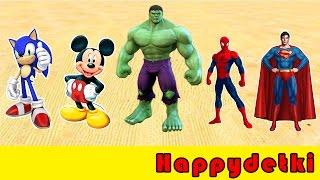 Супергерои на цветных машинках прыгают в воду, детские мультики, машинки, песенки