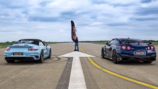 DRAG RACE!! 700BHP NISSAN GTR vs PORSCHE 911 TURBO S
