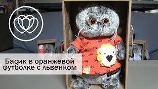 Кот Басик в оранжевой футболке с львенком 19 см