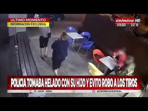Policía tomaba helado con su hijo y evitó robo a los tiros