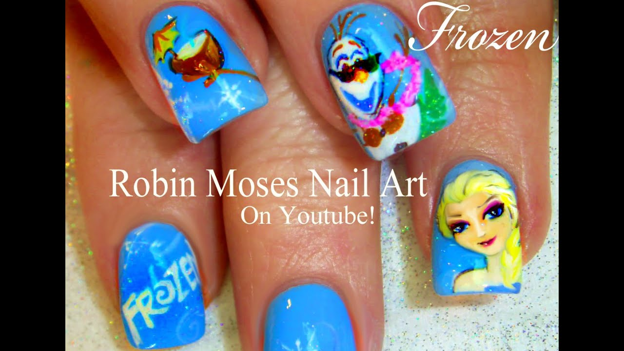 FROZEN Nail Art Design | Olaf and Elsa Nails Tutorial! - YouTube