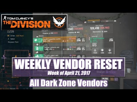 The Division Weekly Reset (04-21-2017) - Dark Zone Vendors